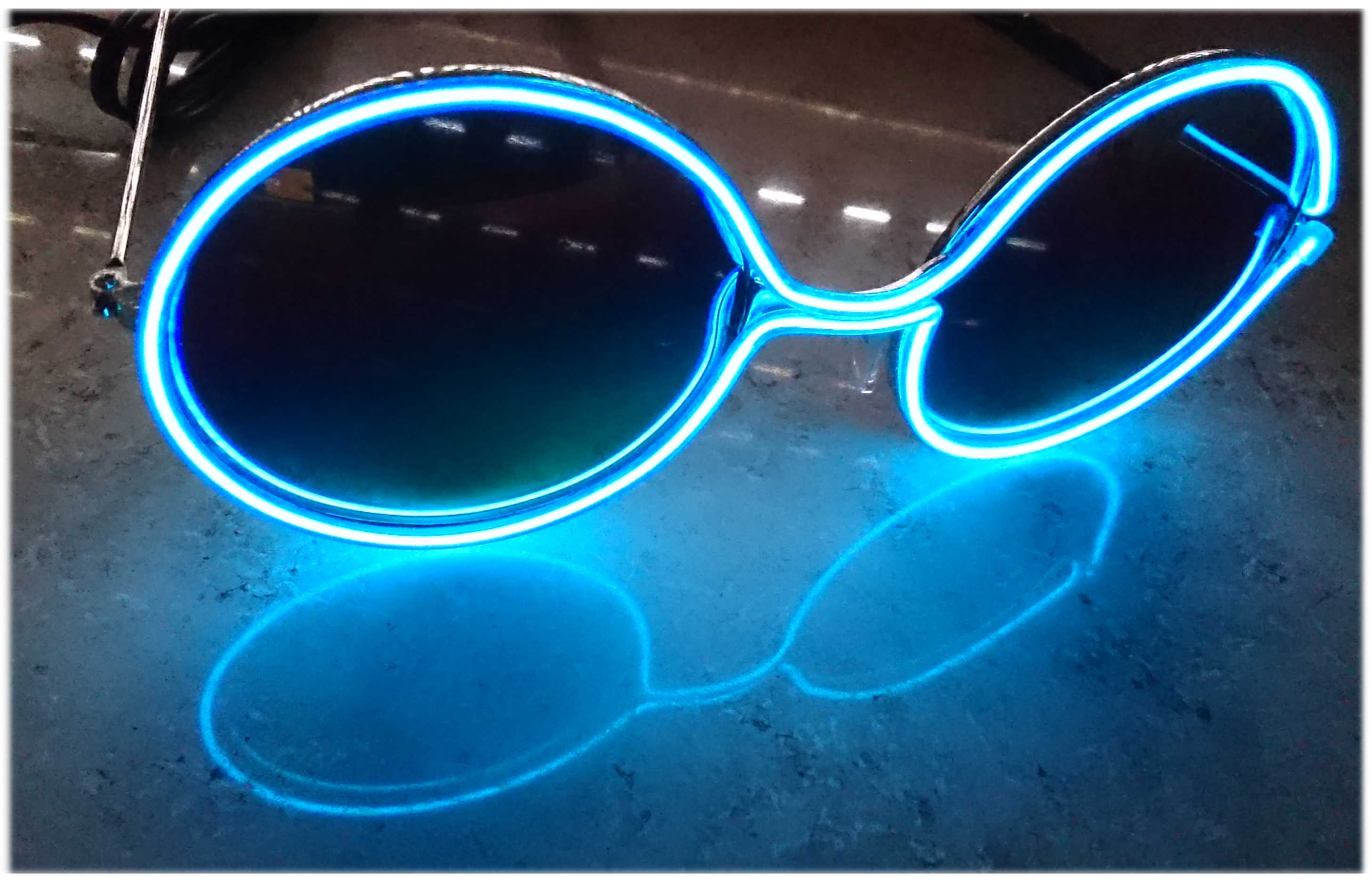 leds-blink.de - Retro sun glasses EL light-colored party glasses ...
