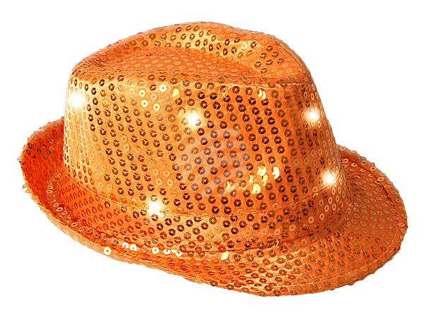 Hut mit Pailetten und LEDs Blinkhut Leuchthut Trilby Faschingshut Karneval