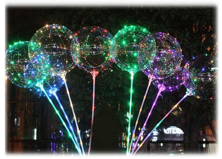 Leds Blink De Led Bubble Balloon With Stick Multi Color